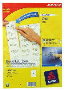 AVERY CLEAR ADDRESS LABELS CLEAR PK25