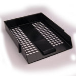 Extra Value Black Plastic Letter Tray - 12 Pack
