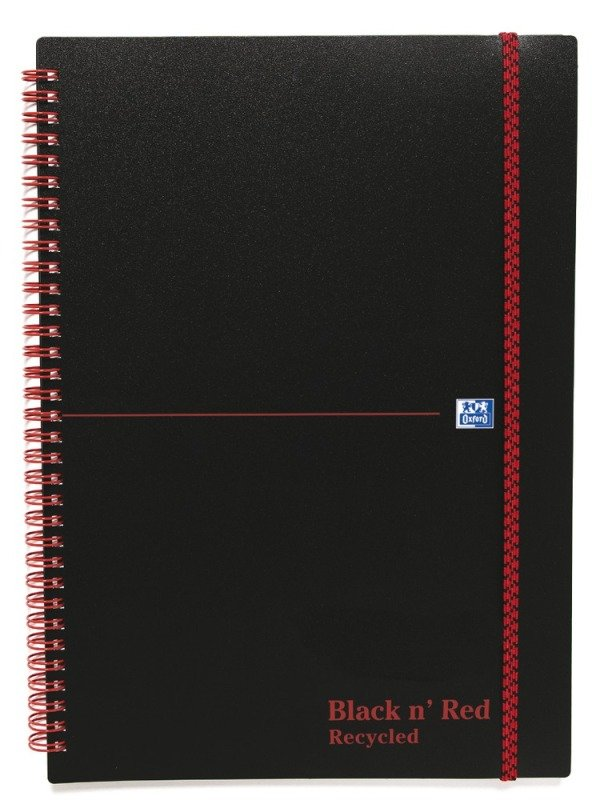 Black N Red Recycled A4 Wirebound Elasticated Notebook - 5 Pack