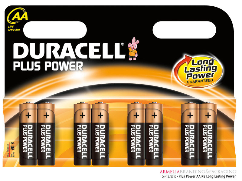 Duracell Plus AA Alkaline Battery - 8 Pack