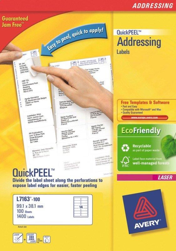 AVERY LSR LBL PK100 L7163-100 FPC