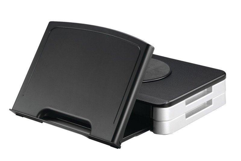 Q Connect Monitor Riser with Document Holder - Black