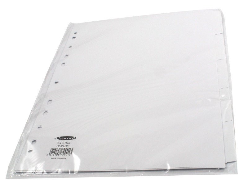 Concord Divider A4 5 Part White
