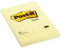 3M Postit 102x152mm Feint Yellow 660 - 6 Pack