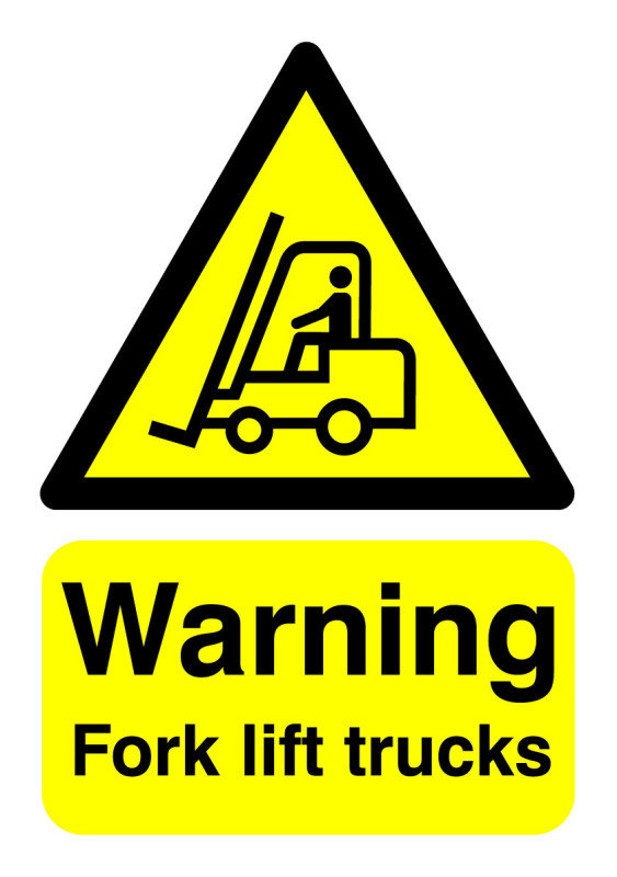 SIGNSLAB A5 WARNING FORK LIFT TRUCKS S/A