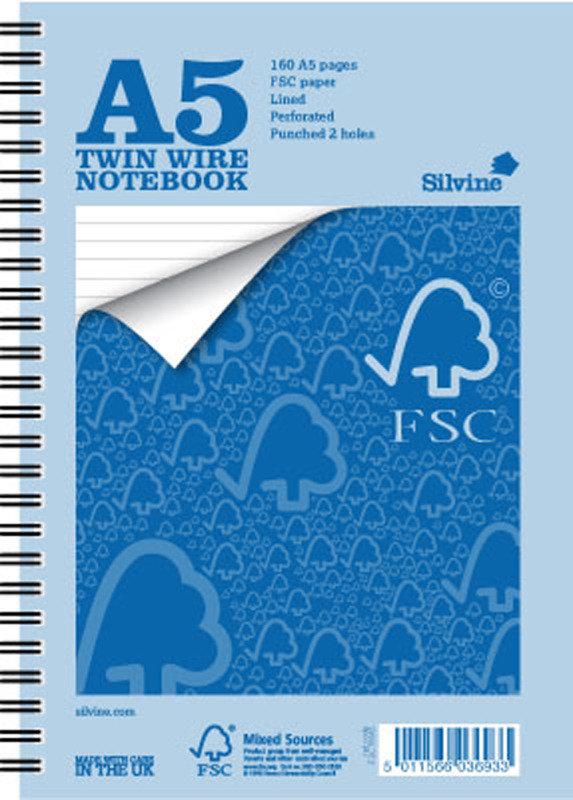 Silvine A5 Fsc Twin Wire Notebook - 5 Pack