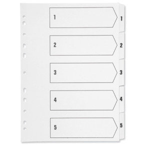 Q-Connect A4 Multi-Punched 1-5 Polypropylene - White