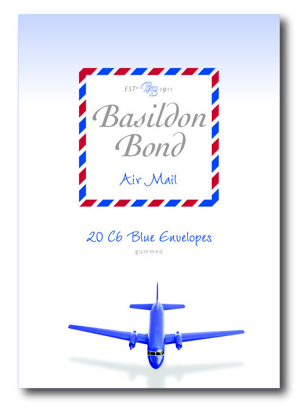 Image of Basildon Bond Airmail Envelope Blue Pk20 - 10 Pack