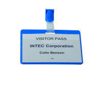 Durable Visitor Name Badge Landscape 60x90mm Blue 25 Pack