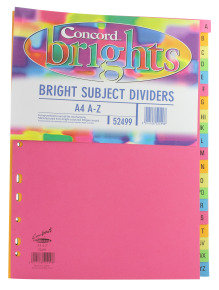 Concord Bright Dividers A4 A-z Asst - 10 Pack