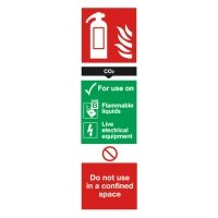 Extra Value 280x90mm Self Adhesive Safety Sign - Fire Extinguisher CO2