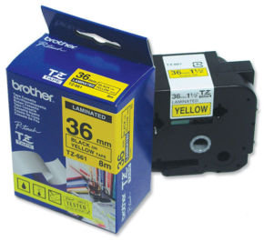 Brother TZe 661 Black on Yellow Laminated tape