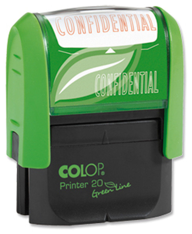 COLOP WORD STAMP GREEN LINE CONFIDENTIAL
