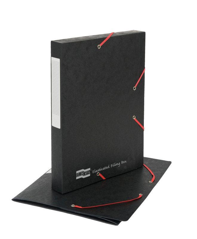 Image of Europa Elasticated Black Filing Box - Pack of 10
