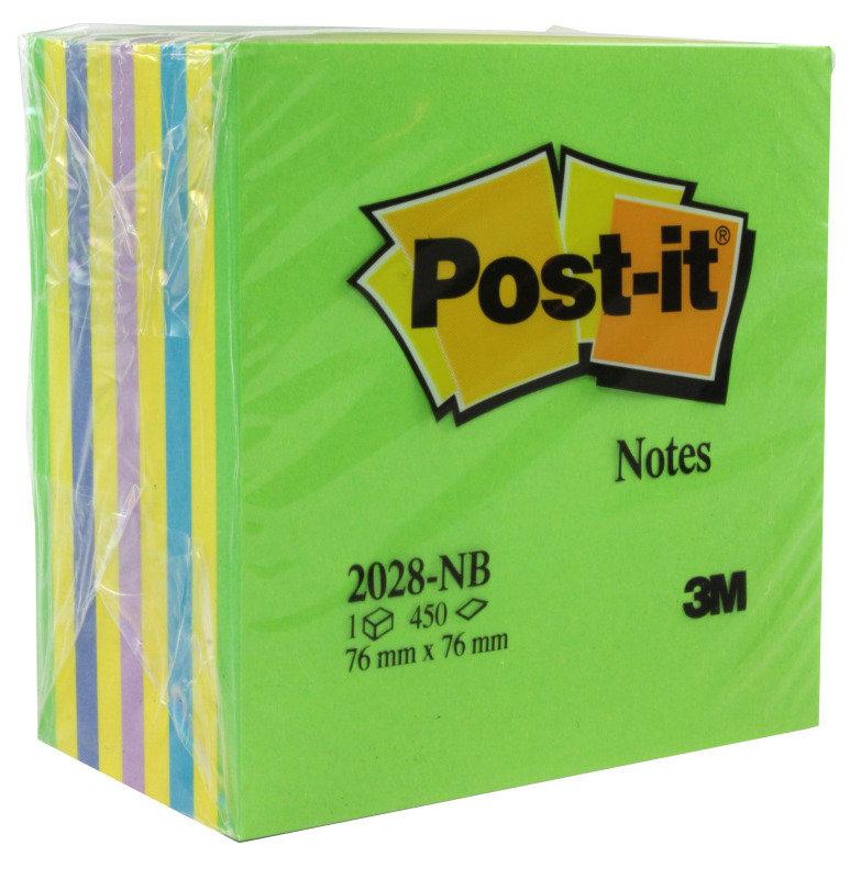 3M POSTIT NEON CUBE 76X76MM BLUE 2028NB