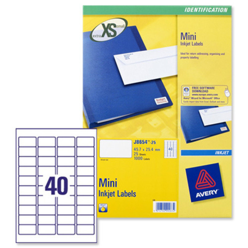 AVERY IJET MINI LBL 40X25SHEETS WHT