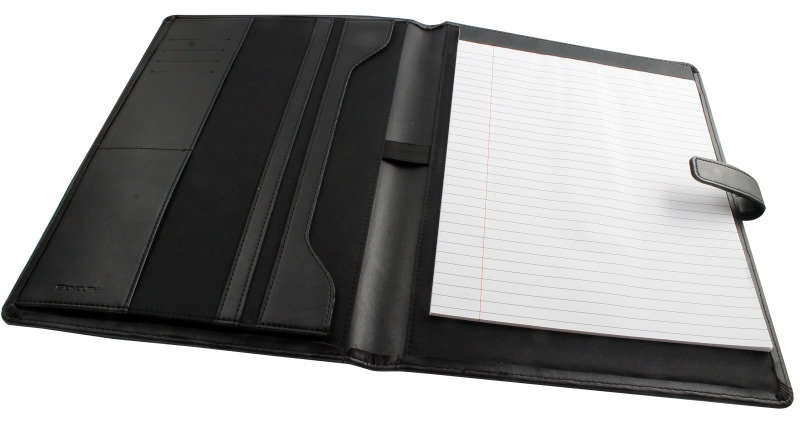 Image of Monolith Leather-Look PU Conference Folder With A4 Pad Black