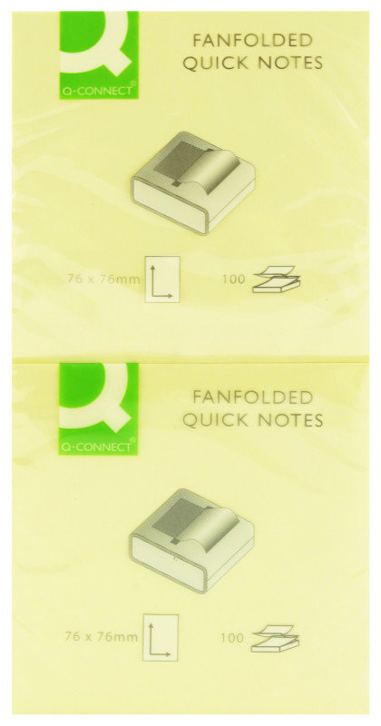 Q Connect Fanfold Quick Notes 75x75mm Yw - 12 Pack