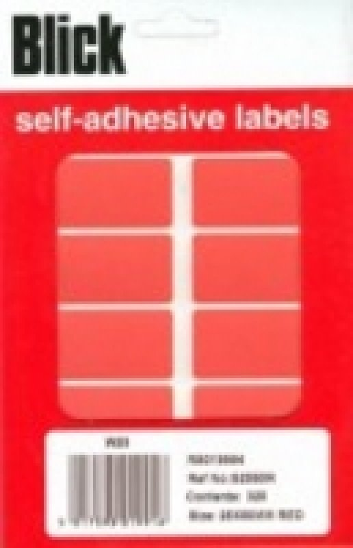 Image of BLICK COLOUR LABEL FP 25X50 RED PK320
