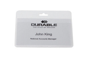 Durable Visitors Badge 60x90mm Landscape 50 Pack
