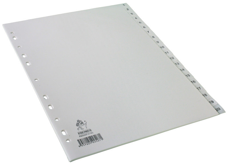 Extra Value 1-20 Plastic Dividers - White