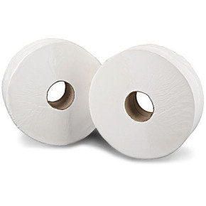 2Work White Jumbo 2 Ply Toilet Roll 410 Metre (Pack of 6)