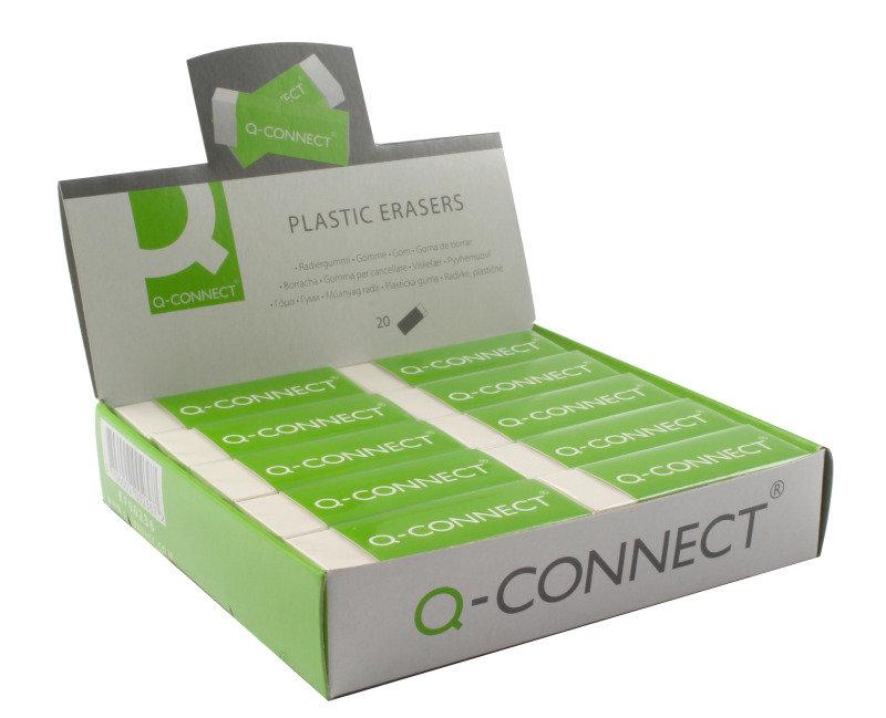 Q Connect White Pvc Eraser - 20 Pack