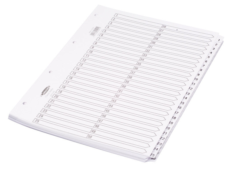 CONCORD INDEX 1-50 A4 WHITE CS55