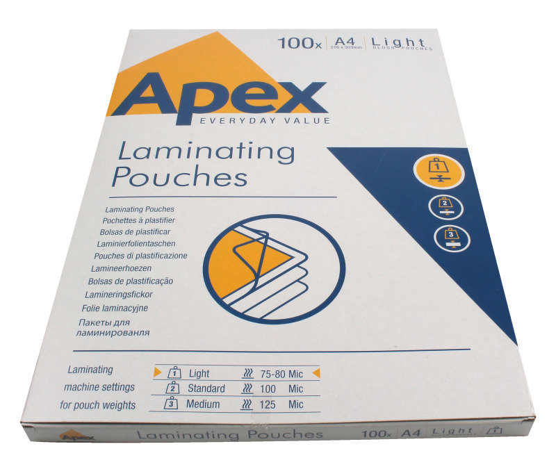 Fellowes Apex Light Duty A4 Laminating Pouches - Pack Of 100