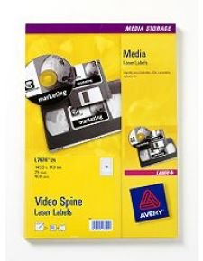AVERY VIDEO SPINE LBL 25SHT L7674