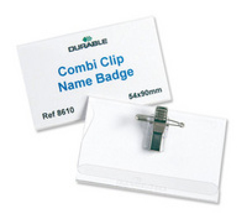 Durable PVC Cobi Clip Name Badge 54x90mm 50 Pack
