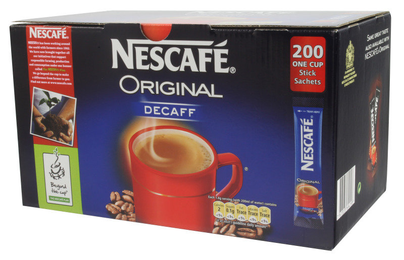 Nescafe Decaffeinated Instant One Cup Coffee Sachets - 200 Pack