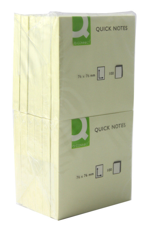 Q-Connect Repositionable Yellow Quick Notes - 76 x 76mm - 12 Pack