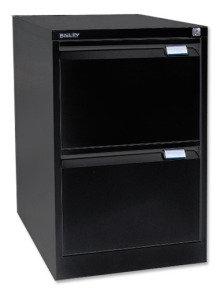 Bisley 2 Drawer Locking Foolscap Filing Cabinet - Black