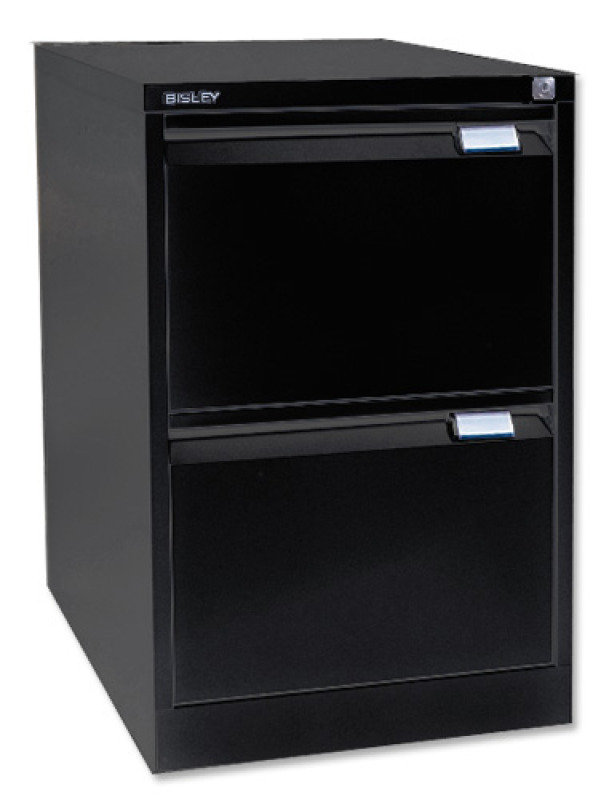Bisley 2 Drawer Locking Foolscap Filing Cabinet - Black