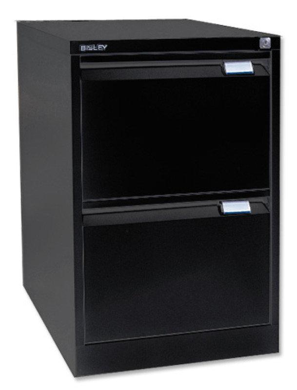 Image of Bisley 2 Drawer Locking Foolscap Filing Cabinet - Black