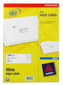 AVERY INKJET LABELS 14/SHT 99.1X38.13M
