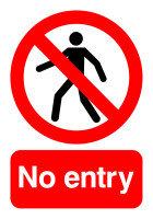 Extra Value A5 Self Adhesive Warning Sign - No Entry