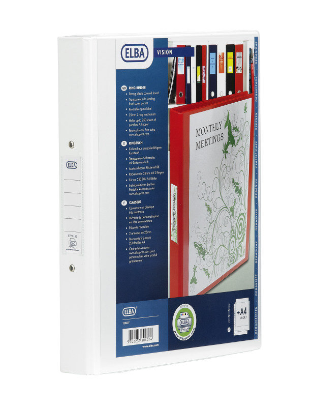 BANTEX VISION 2-RING BINDER A4 25MM WHT