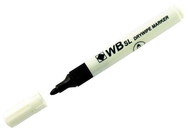Extra Value Black Bullet Tip Drywipe Marker Pen - 10 Pack