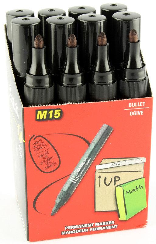 Papermate Perm Marker Bullet Black M15 - 12 Pack