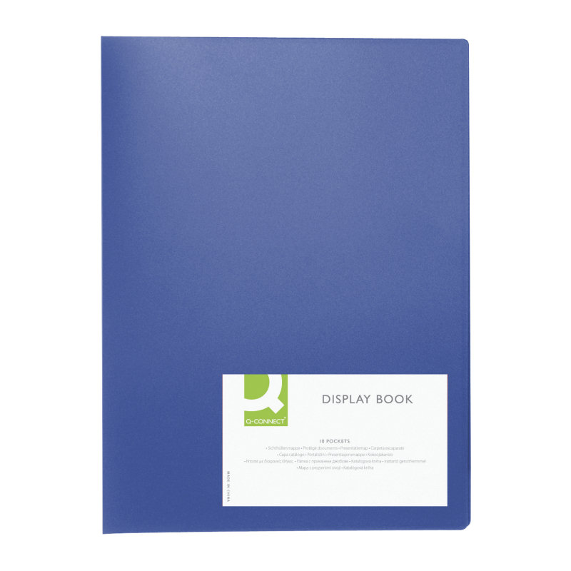 Q CONNECT DISPLAY BOOK 10POCKET BLUE