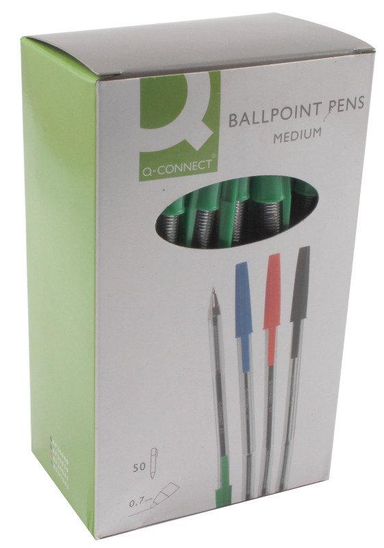 Q Connect Ballpen Medium Green - 50 Pack
