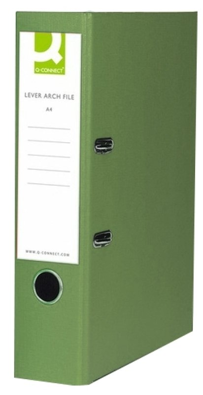 Q-Connect Lever Arch File Foolscap Paper-Backed Green