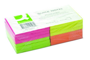 Q Connect Quick Sticky Note 75x75mm Neon - 12 Pack
