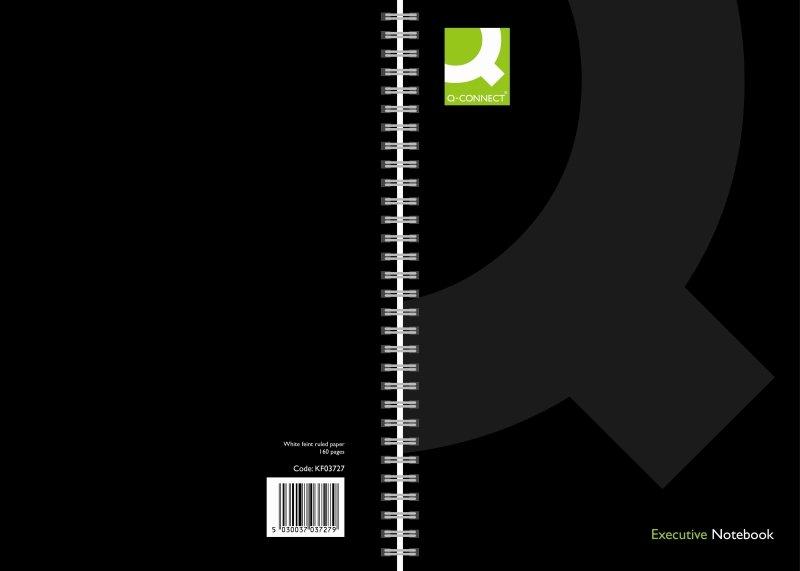 Qconnect Wirebound A4 Hardback Black - 3 Pack