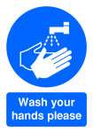 Extra Value A5 PVC Safety Sign - Wash Hands