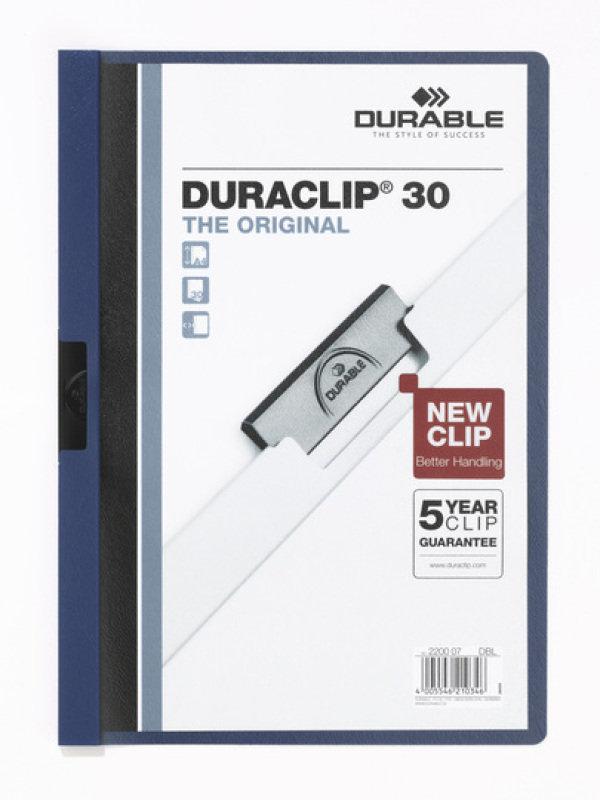 Durable DURACLIP 30 File A4 Dark Blue 25 Pack