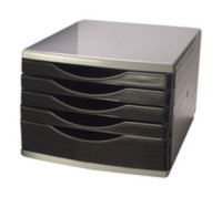 Q CONNECT DRAWER SET 5 DRAWER BLACK/GREY