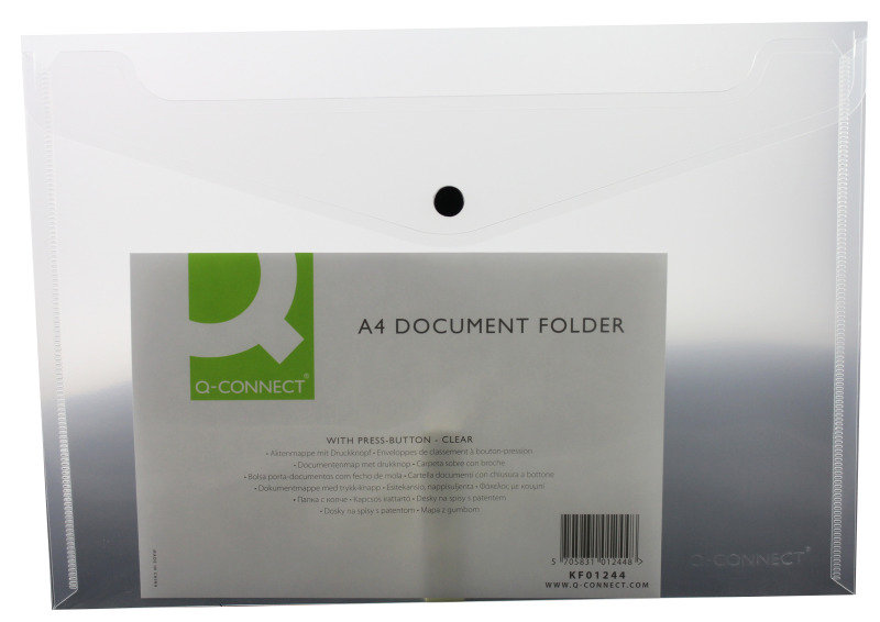 Q Connect Doc Folder Plastic A4 Clr - 12 Pack